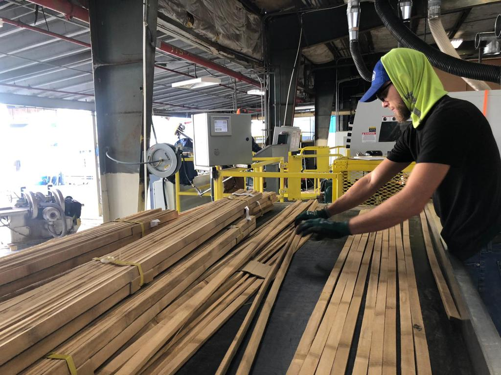 Bamboo slats being prepped in the BamCore factory.